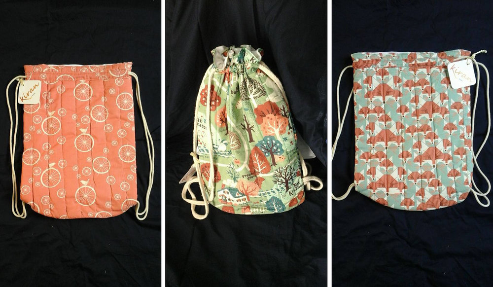 It took Geeta and Sunita nearly a whole day to work out the design for these drawstring bags. - Photo courtesy of Kiran