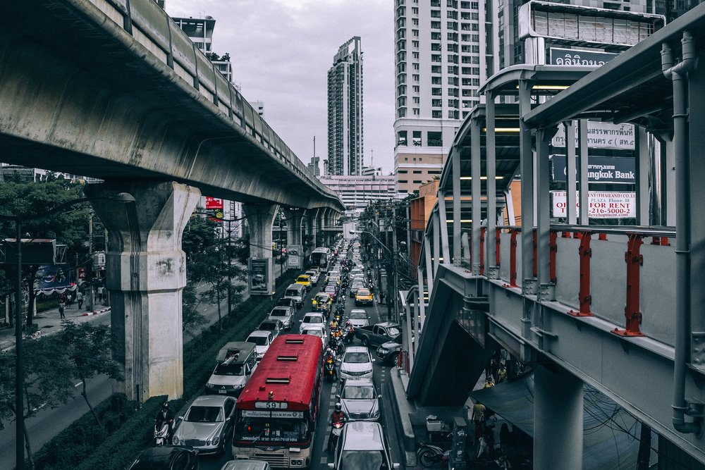 Traffic is one of the defining features of Bangkok, and it takes a toll on the city dwellers - Photo courtesy of  Peter Hershey .