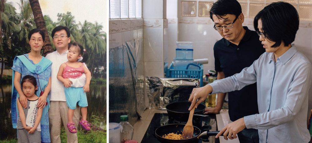 Left: Wanjai and her family in Bangladesh, circa 2006; Right: Wanjai and her husband, David at home. Wanjai cooks almost all the food for the family as food from local restaurants and vendors aggravates her fibromyalgia - Photo courtesy of Wanjai Park and by Chad Loftis.