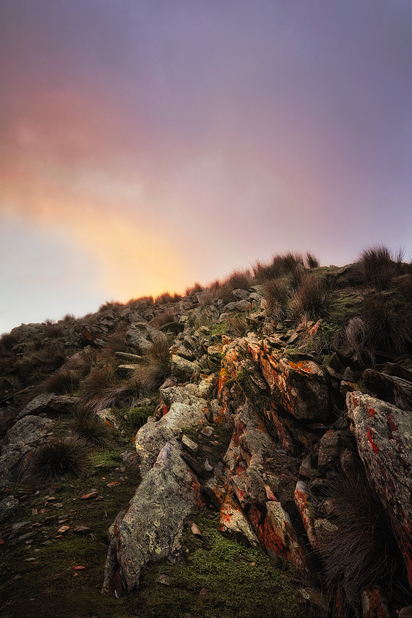 Sigma DP1 - Looking up at orange lichen-covered rocks at Cape Forbin on SA's Kangaroo Island. f10, ISO 100 1/3sec