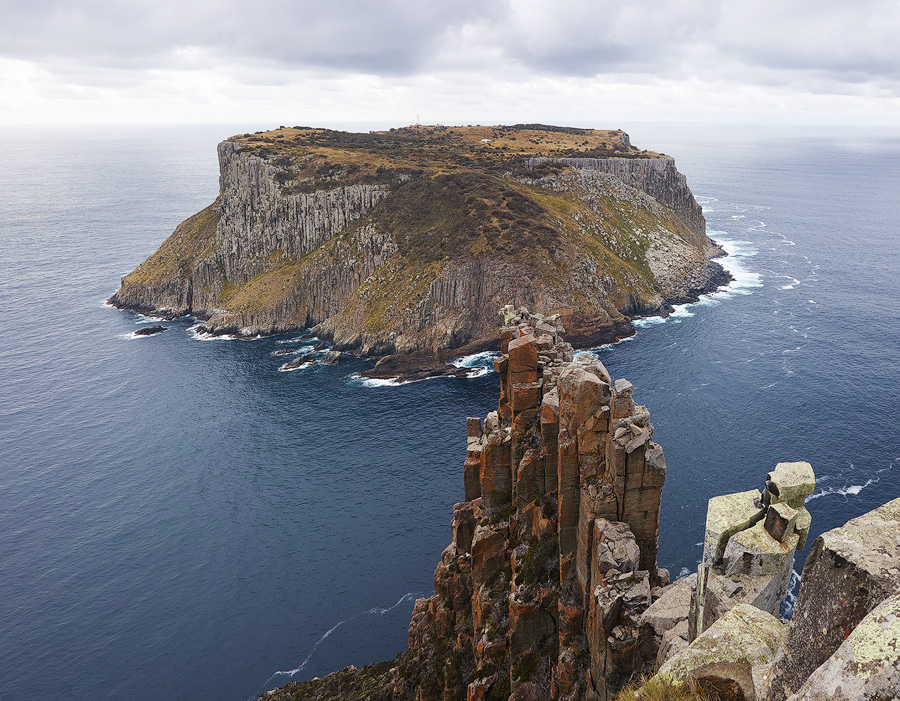 Tasman Island as seen from the very top of the Blade. I have to admit, it's a rather daunting position with the wind and exposure, but what a view!