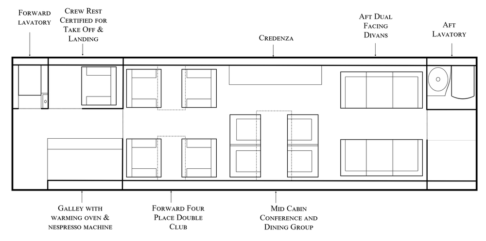 Altus Aviation Falcon 7X 162 Floorplan