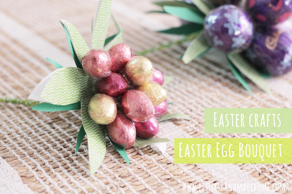 Easter crafts, chocolade egg bouquet. Super cute and a great hostess gift for easter, tutorial by Hester's Handmade Home