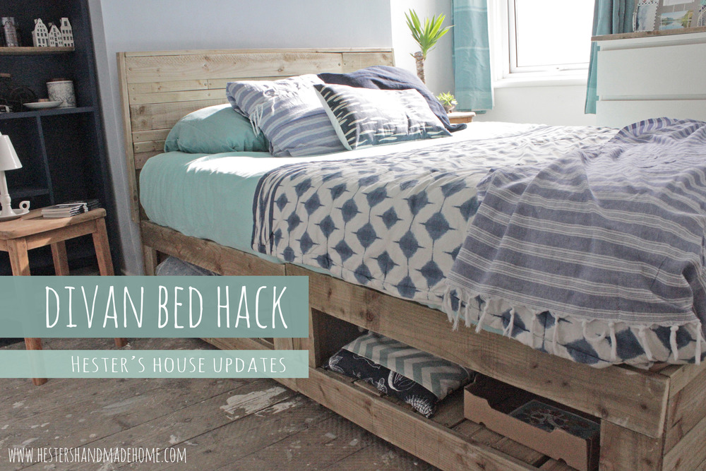 divan bed hack into a rustic bed frame with storage tutorial by Hesters handmade home