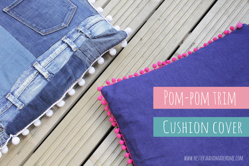 pompom trim cushion covers, easy tutorial by hesters handmade home