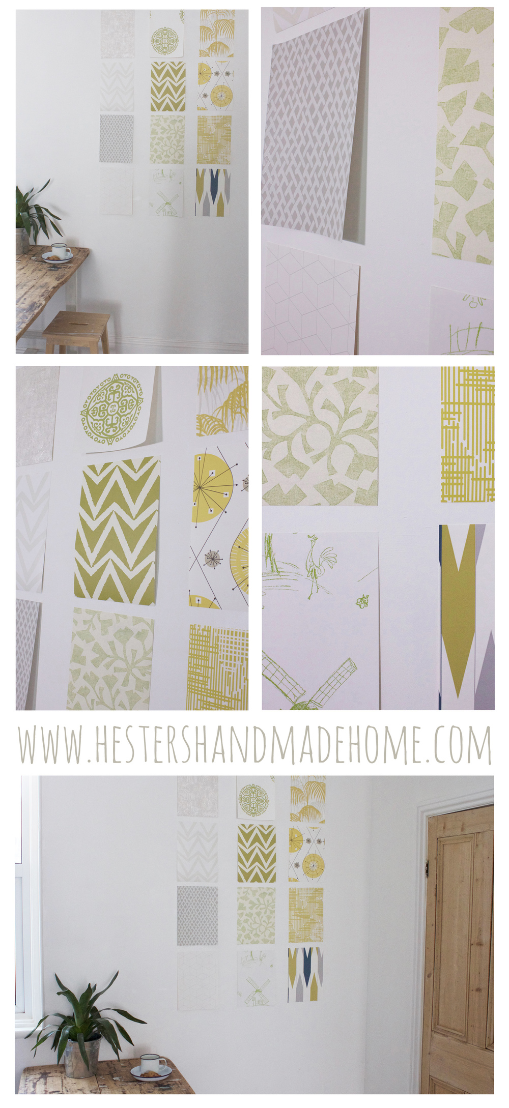 Wall art using wallpaper samples, tutorial by Hester's Handmade Home