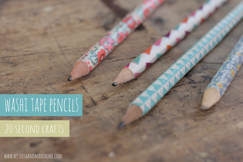 washi tape decorated pencils, tutorial by Hester's Handmade Home