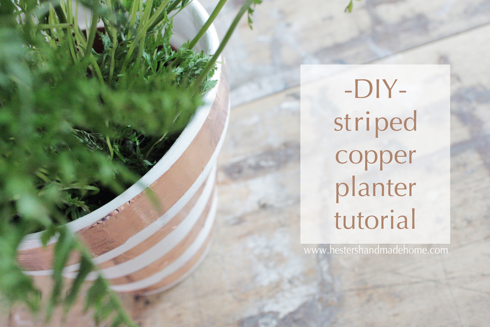 Make a copper striped planter with slug tape, super easy tutorial by Hesters Handmade Home