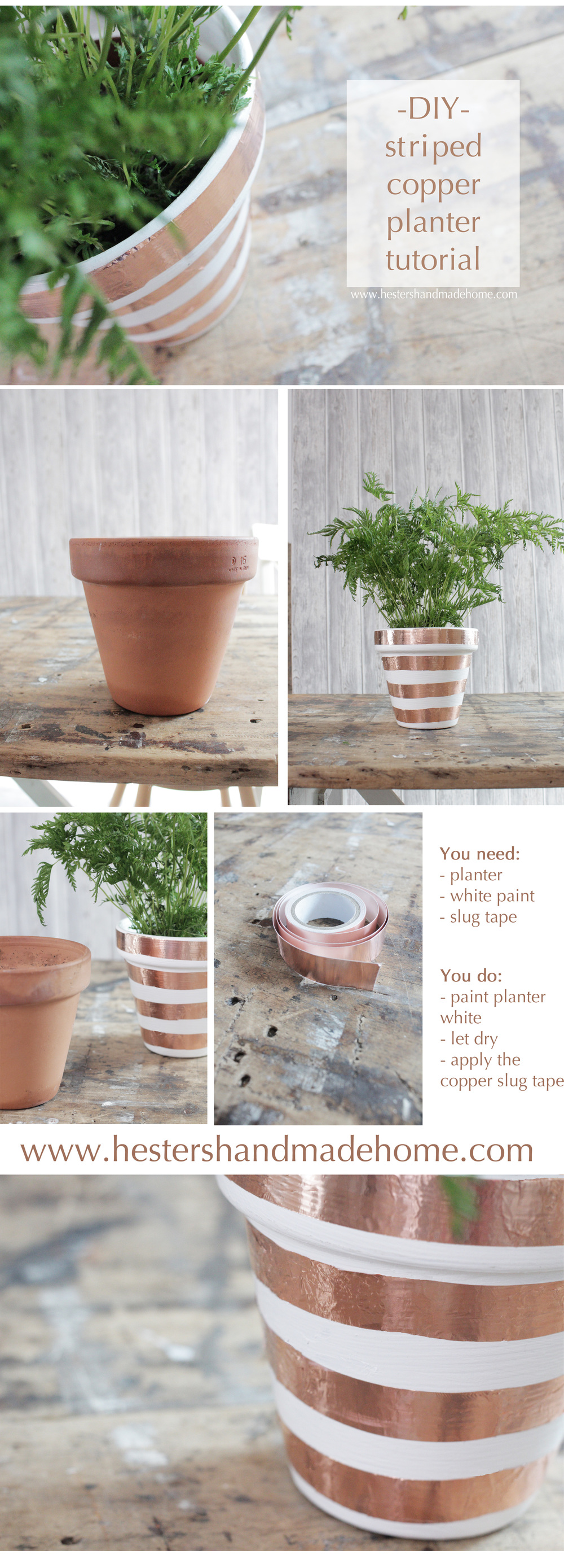 Transform a terracotta pot into a copper striped gem, easy tutorial by www.hestershandmadehome.com