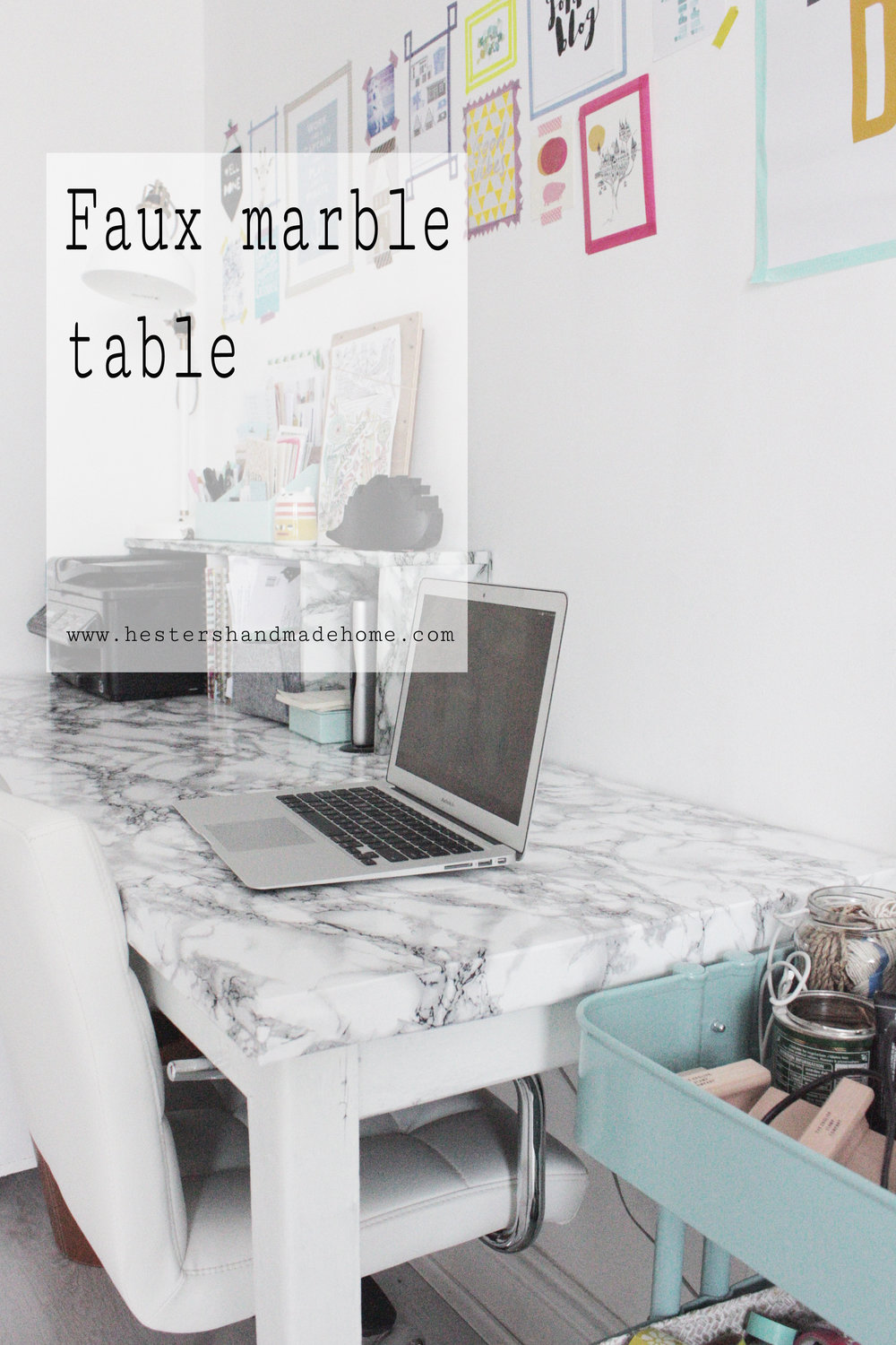 Marble desk tutorial using vinyl, tutorial by hester's handmade home