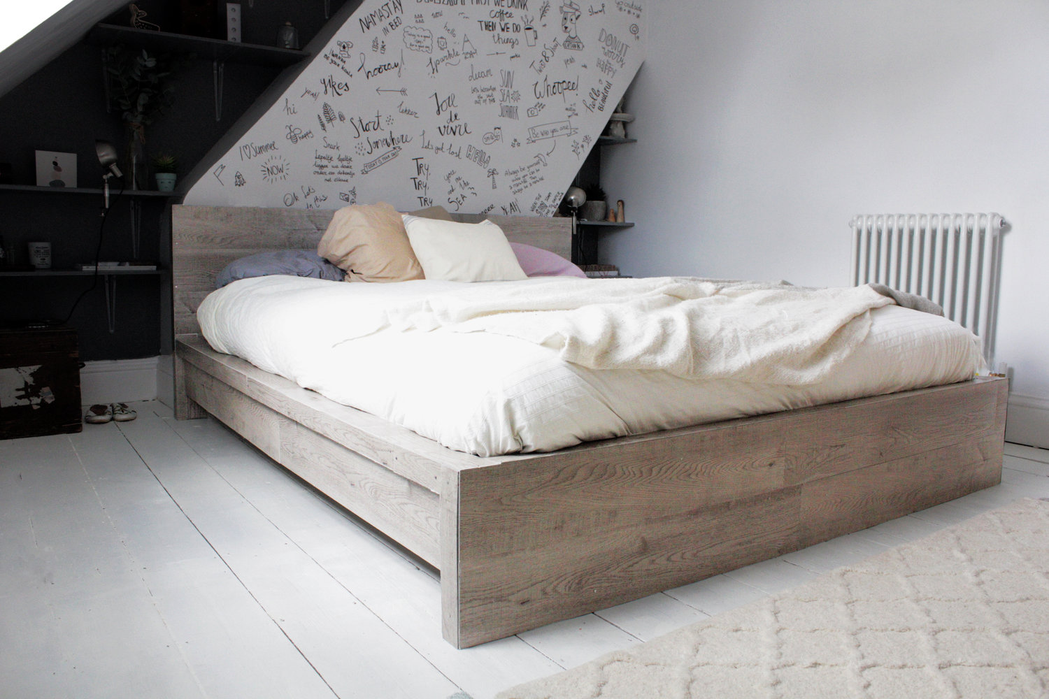 ikea hack rustic look for a malm bedframe