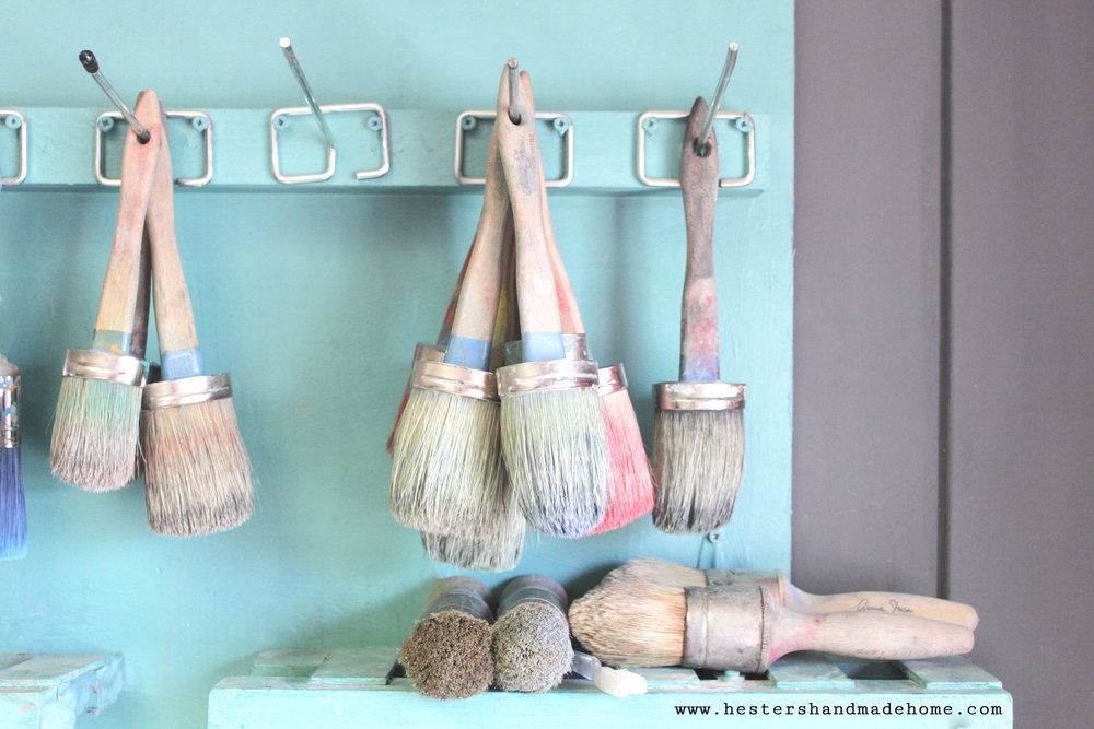 paint brushes in Annie Sloan's studio, photo by hestershandmadehome.com