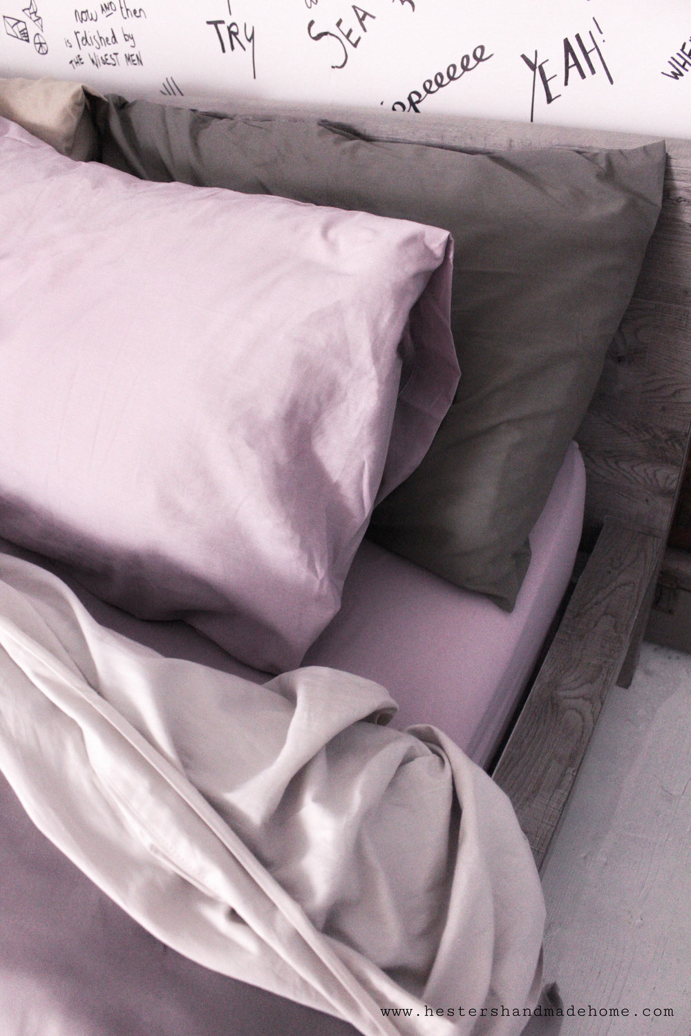 Use muted tones for a cozy and stylish winter bed, tutorial by www.hestershandmadehome.com