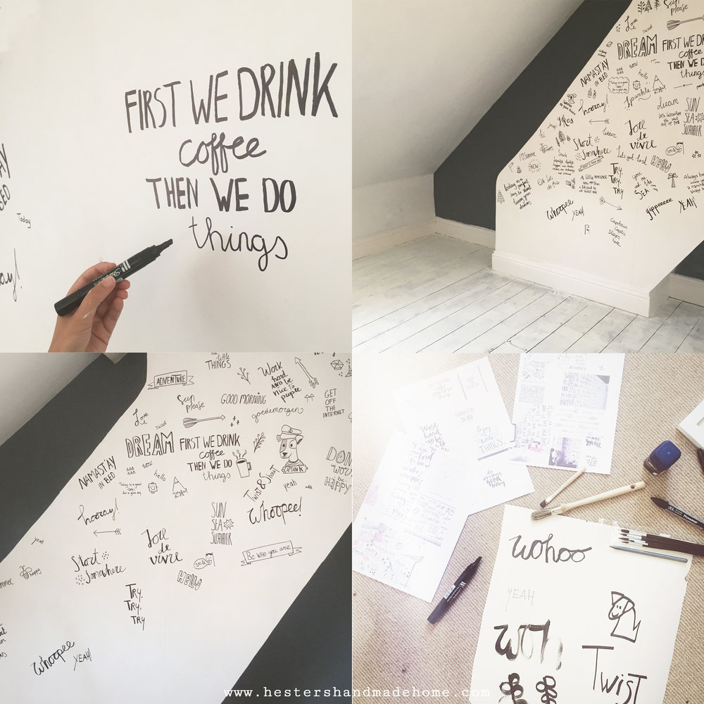 Make your own hand lettered and doodled wallpaper, tutorial by www.hestershandmadehome.com