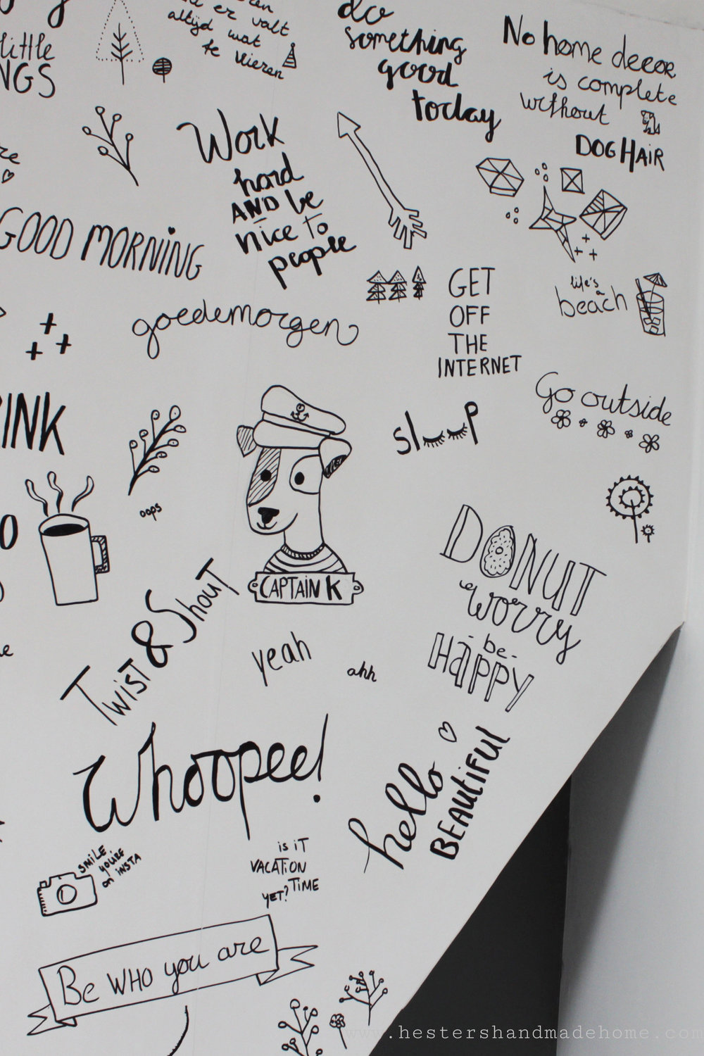 Doodle wallpaper, a very simple project by www.hestershandmadehome.com