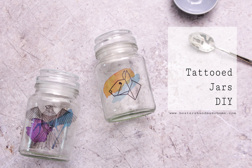 Upcycle your old jars with temporary tattoo's, tutorial by www.hestershandmadehome.com