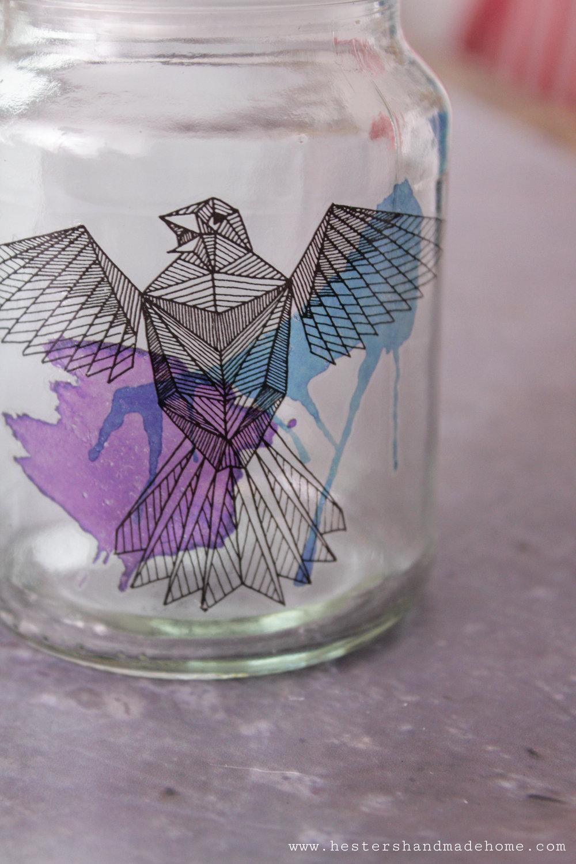 Tattooed jars by www.hestershandmadehome.com