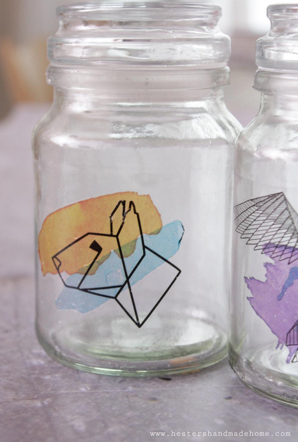 Tattooed jar tutorial by www.hestershandmadehome.com