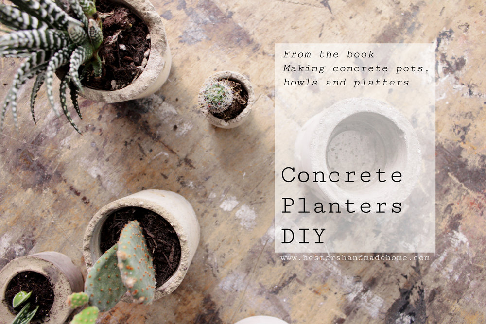 concrete planter tutorial from the Making Concrete book by Hester van Overbeek
