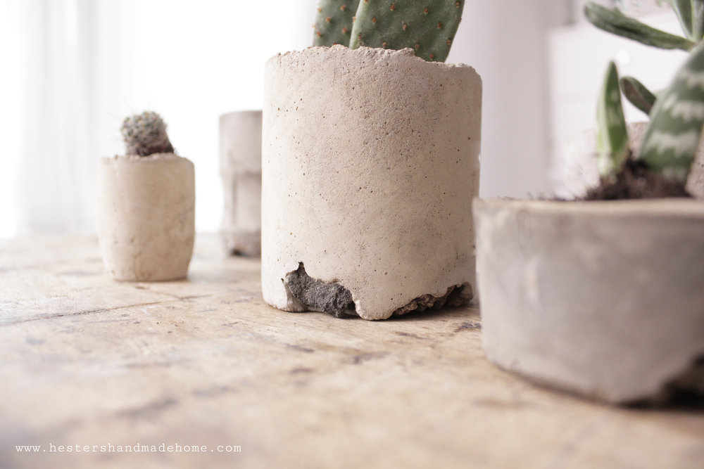 Concrete planters, tutorial from the Making concrete book by Hester van Overbeek www.hestershandmadehome.com