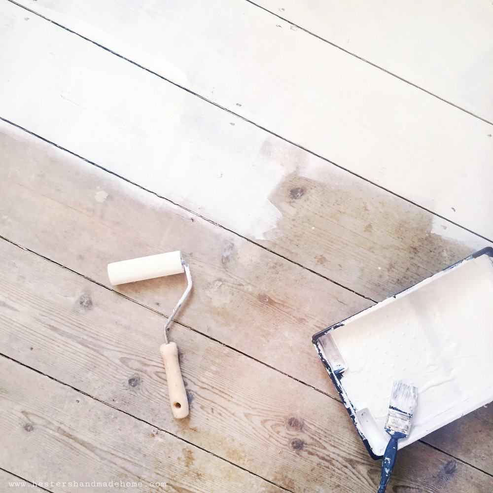 painted floor board, bedroom makeover hesters handmade home