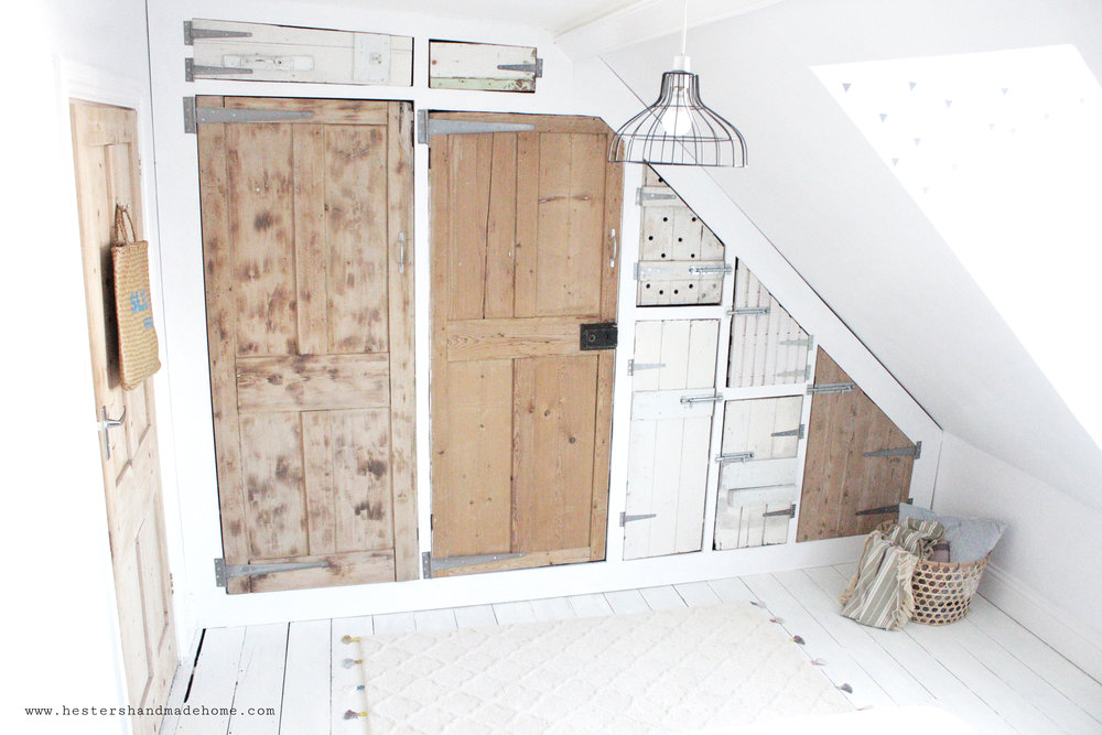 wardrobe with reclaimed doors by www.hestershandmadehome.com