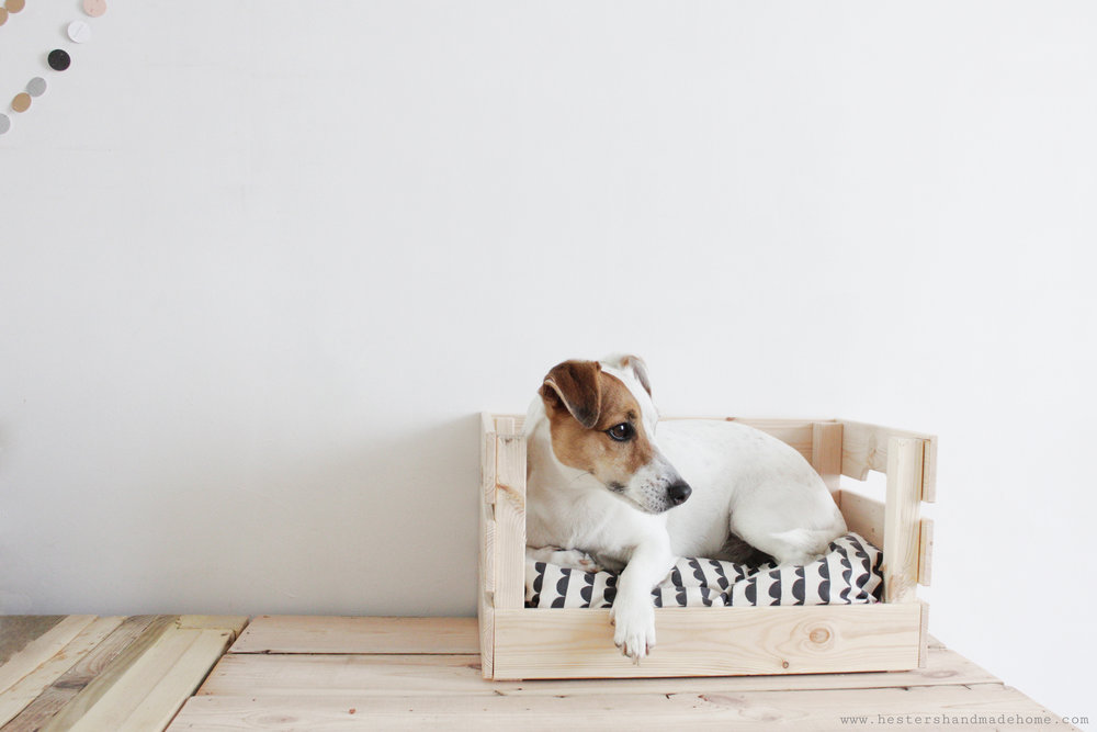 Ikea box hack to dog bed tutorial by www.hestershandmadehome.com