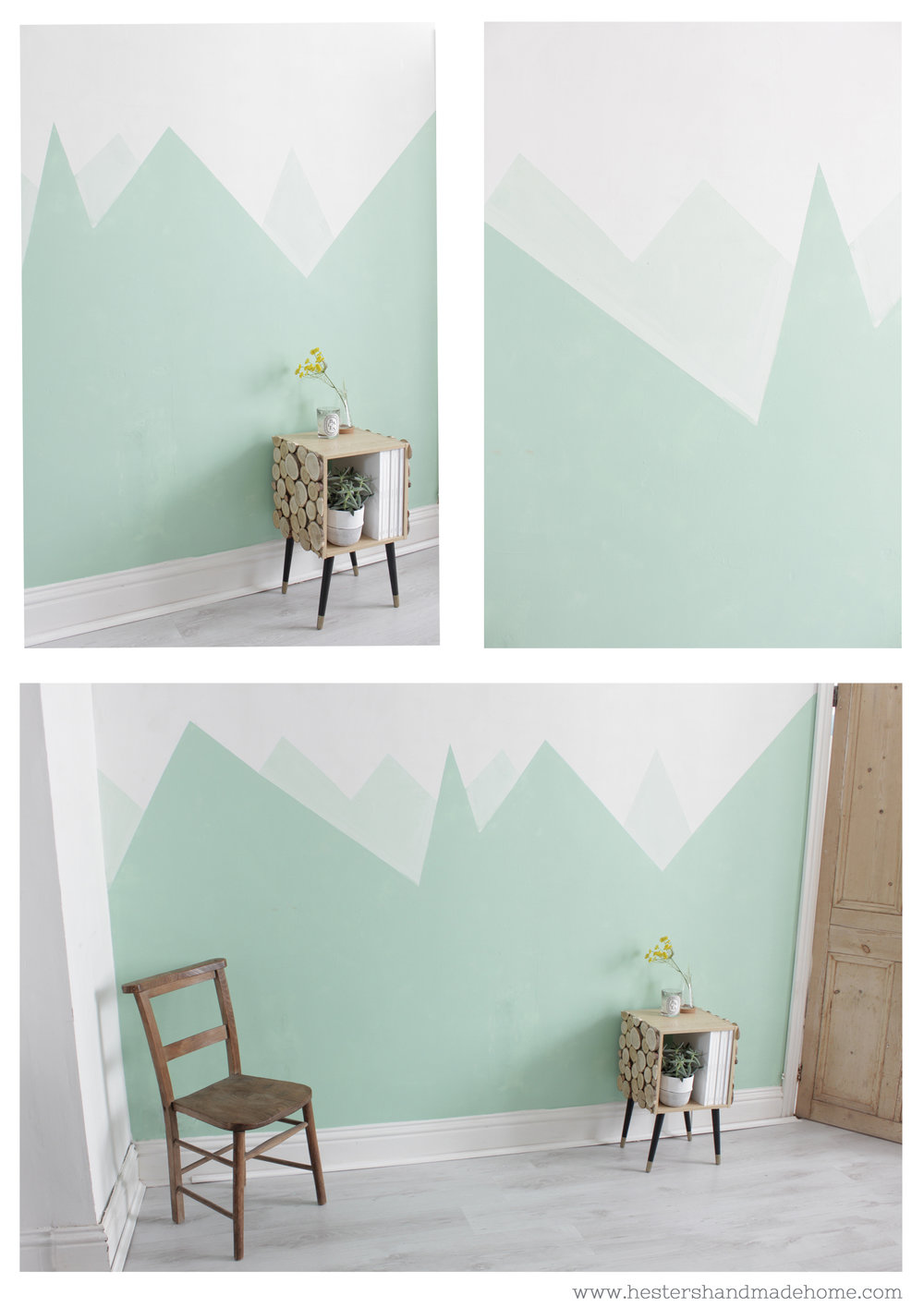 Paint a mountain on your wall by www.hestershandmadehome.com
