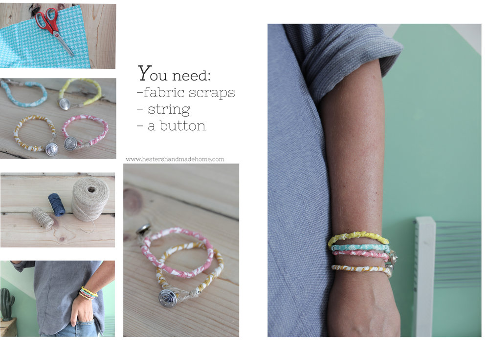 Use up your fabric scraps and make these cute bracelets, by www.hestershandmadehome.com