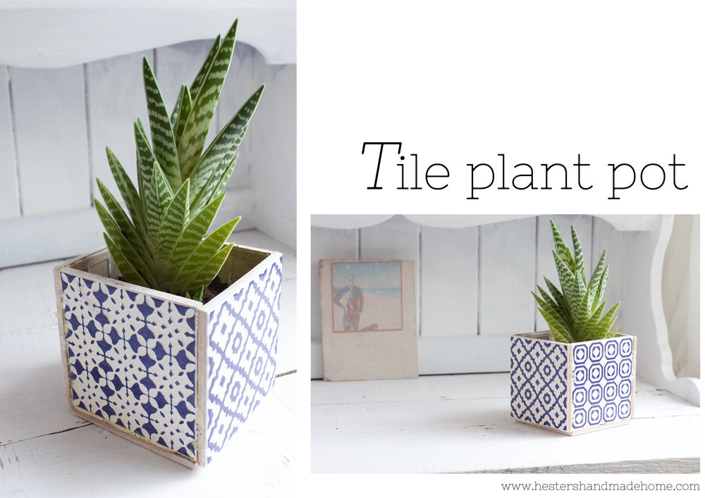 Plant pot made from tiles by www.hestershandmadehome.com