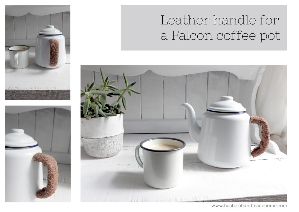 Leather cuff for Falcon coffee pot by www.hestershandmadehome.com