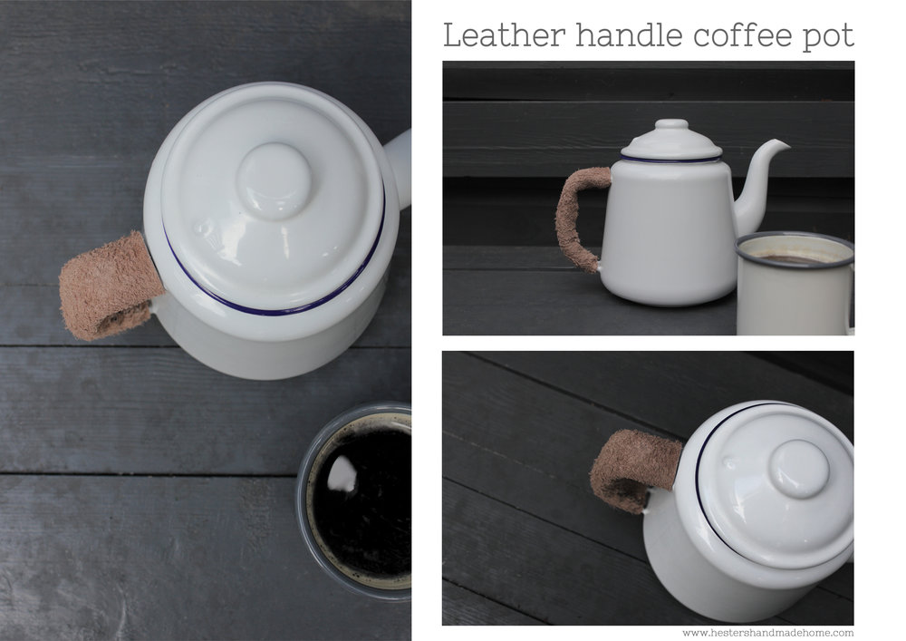 Leather handle for Falcon enamel pot by www.hestershandmadehome.com