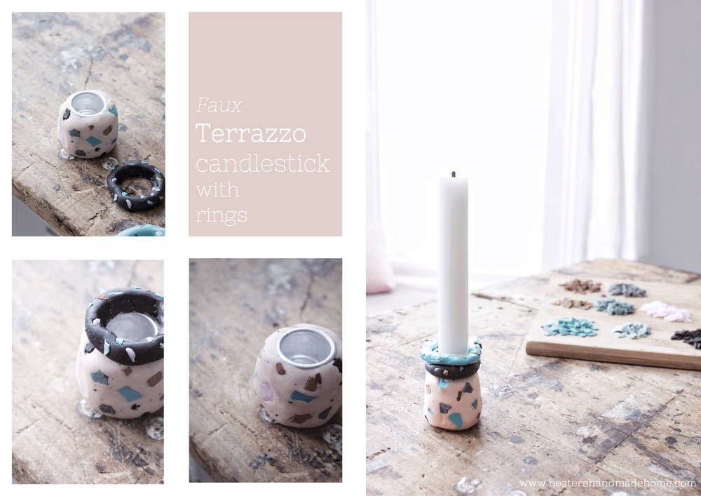 Terrazzo candle stick by www.hestershandmadehome.com