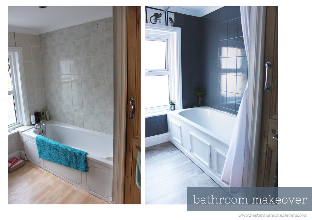 Bathroom makeover on a budget by www.hestershandmadehome.com
