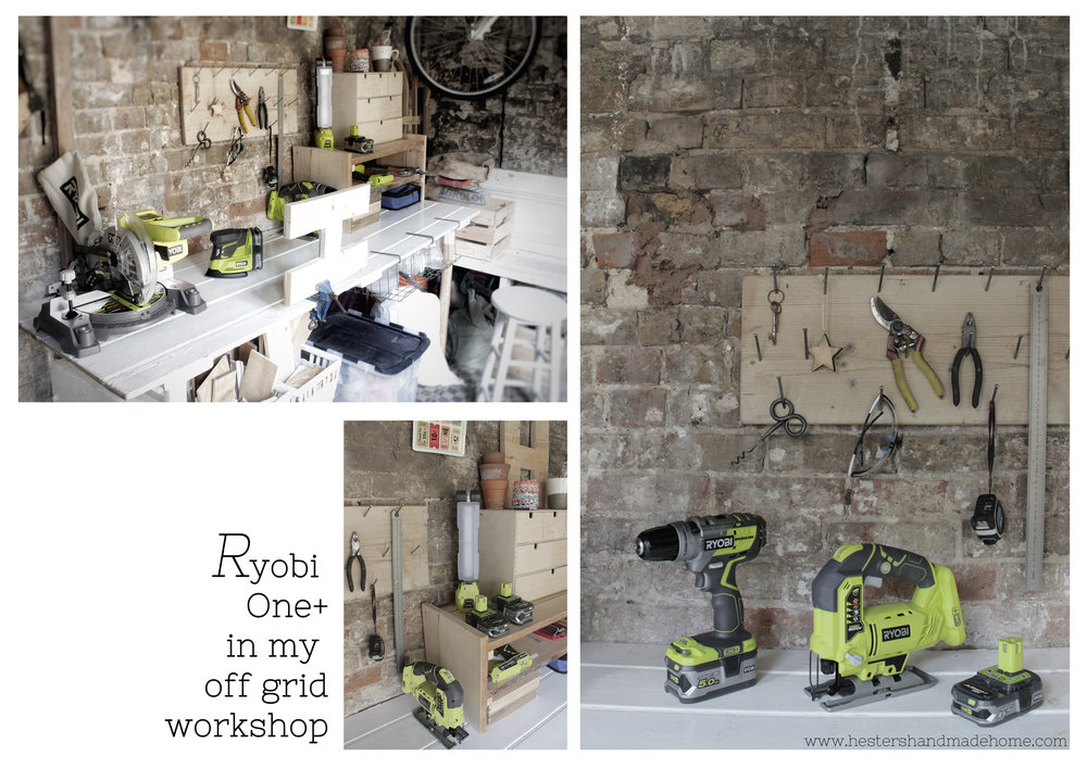 Ryobi one plus tools in my off the grid workshop by www.hestershandmadehome.com