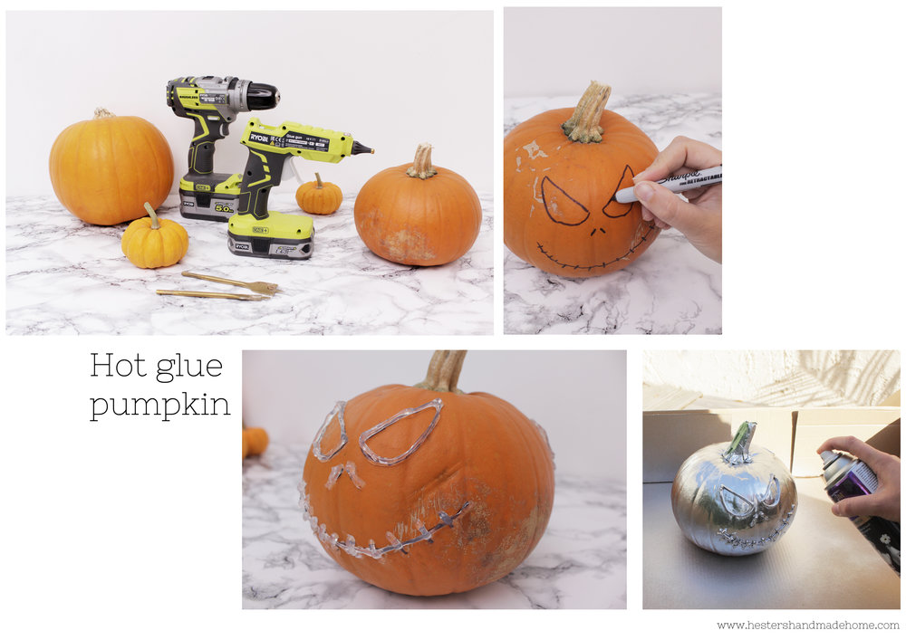Use a hot glue gun to decorate your pumpkin tutorial by Hesters handmade home
