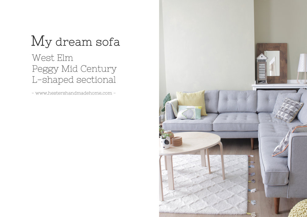 Peggy mid century L shaped sectional from West Elm, my dream sofa www.hestershandmadehome.com