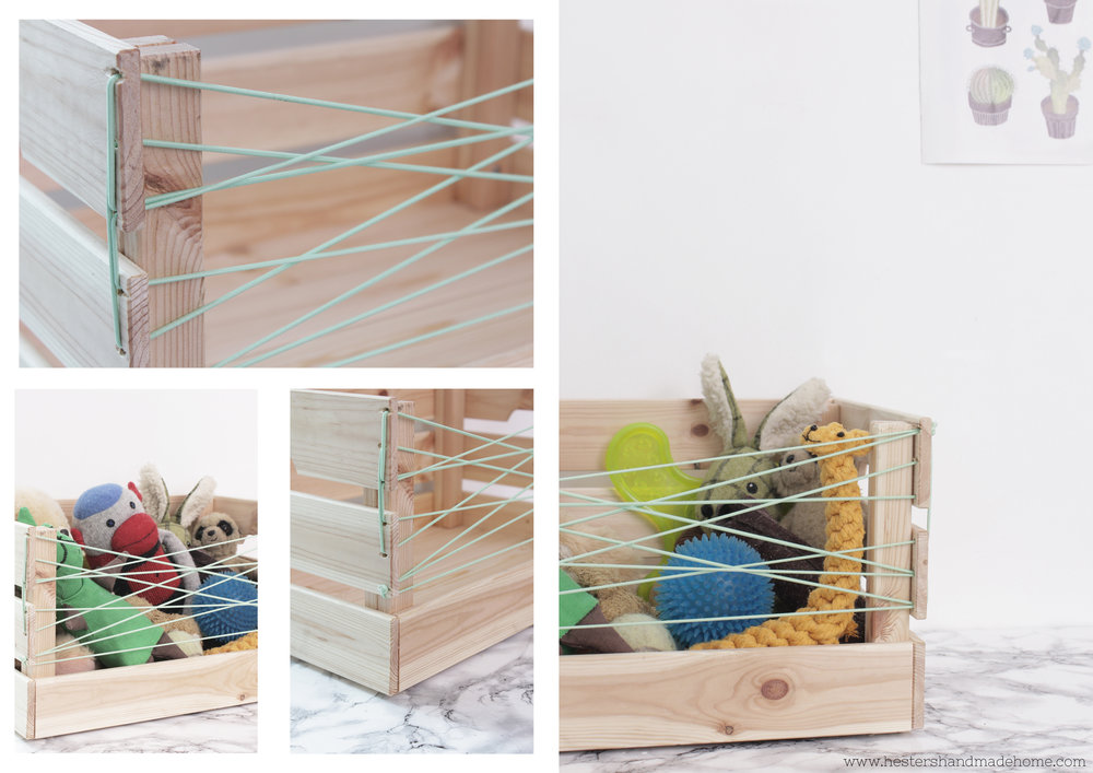 Ikea hack Knagglig crate into dog toy storage by www.hestershandmadehome.com