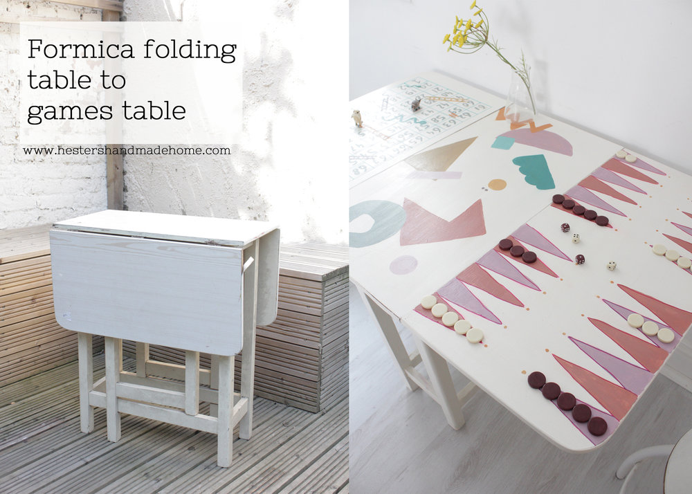 Kitchentable to games table, hack by www.hestershandmadehome.com