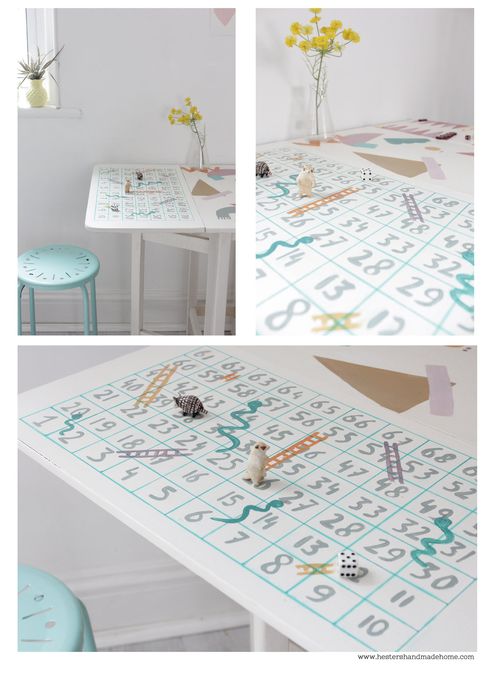 Snakes and ladders games table by www.hestershandmadehome.com