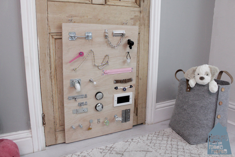 build a baby busy board with Hester's handmade home