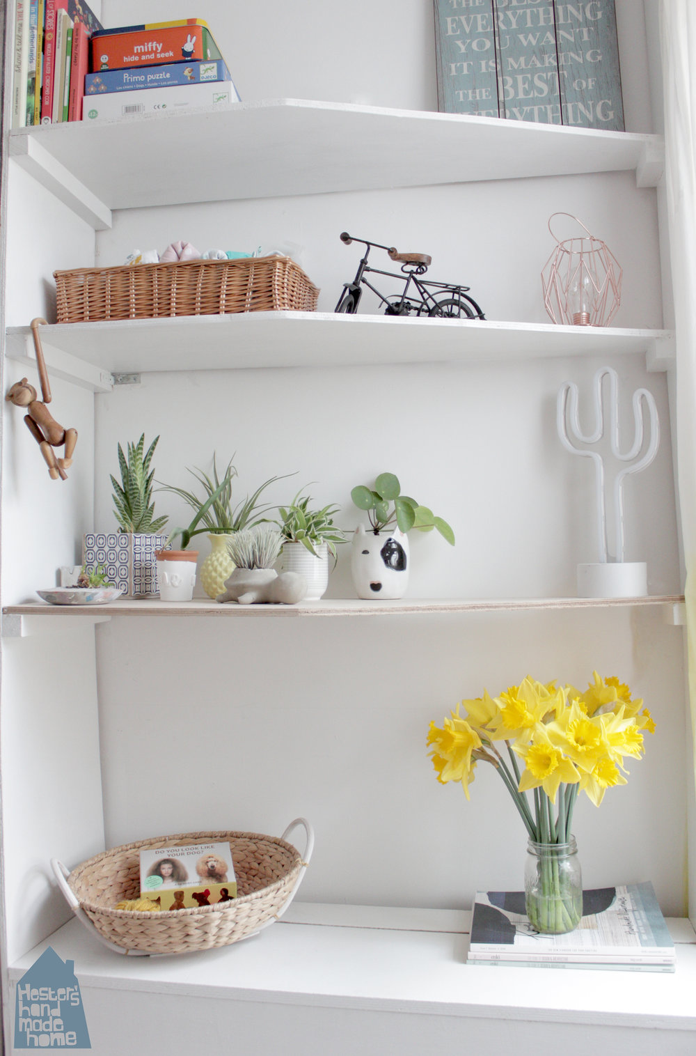 Alcove shelving and creating lots of storage by www.hestershandmadehome.com