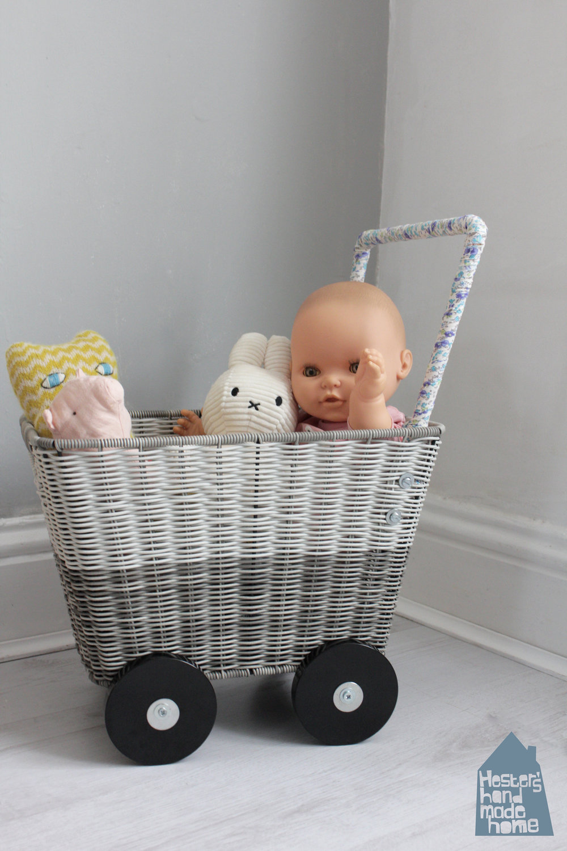 doll pram diy from a basket by www.hestershandmadehome.com