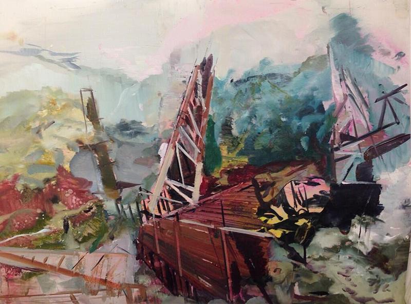 "Periphery , (2014): oil on mylar, 24"" x 34"""