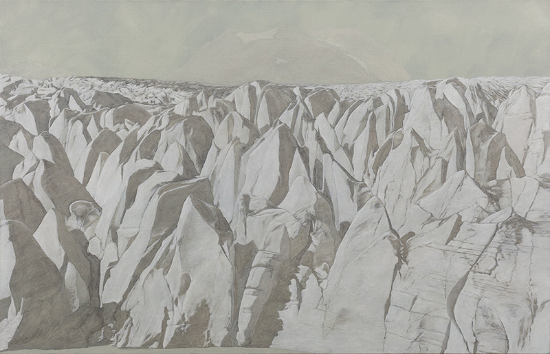 "Leslie Reid,  Llewellyn I 59°04'N; 134°05'W , 32"" x 50"", oil and graphite on canvas (2014)"