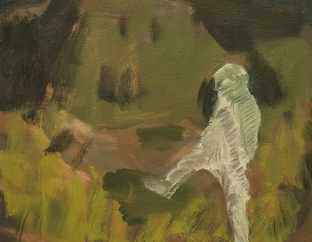 Stanzie Tooth,  High Stepping  (2015); oil on canvas over panel, 11 x 14 inches