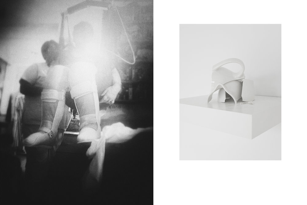 "Left image: Julia Martin,  Coming Down ( 2015); photograph, 42x56""  Right image: Julia Martin,  Spilled Milk  (2015) ;  broken milk pitcher/installation"