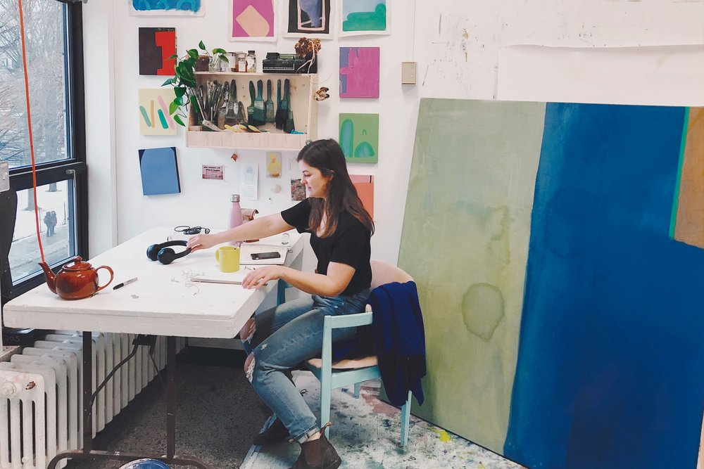 Emma Carney has divided her First Year studio into a painting space, and space for research and writing.