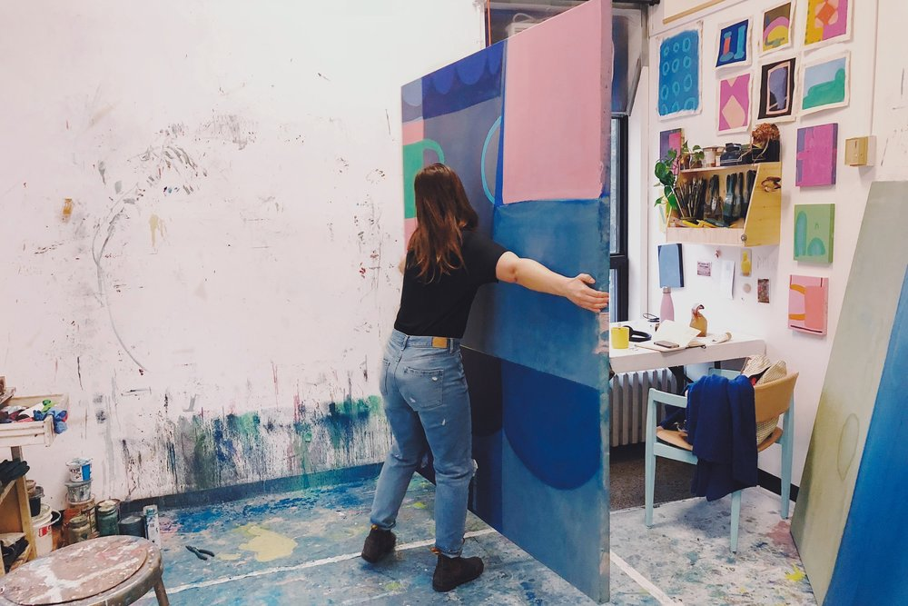 Emma often works in large-scale painting. The spaces of 205 were built with this in mind, with extra-wide doorways and 15ft ceilings and a suspension grid.