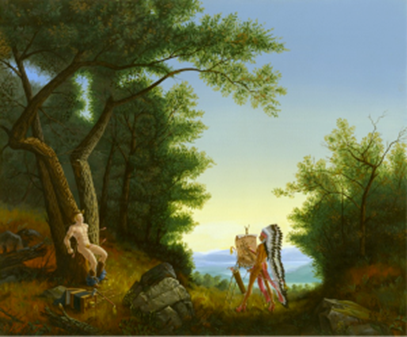 Fig. 1. Kent Monkman.  Study for Artist and Model , 2003. Acrylic on canvas, 20 in. x 24 in.